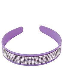Elegant Purple Multilayer Diamond Decorated Pure Color Hair Clasp