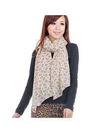 Fashion Light Khaki Bowknot Pattern Decorated Simple Scarf