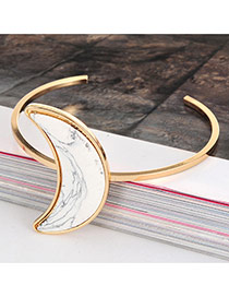 Retro White Crescent Shape Tophus Decorated Opening Design Alloy Fashion Bangles