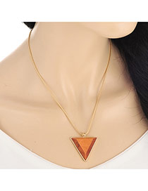 Retro Coffee Wooden Triangle Shape Pendant Decorated Simple Design Wood Bib Necklaces