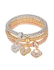 Lovely Multi-color Heart Shape Pendant Decorated Multilayer Bracelet