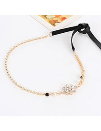 Elegant Black Diamond&pearl Decorated Simple Belt
