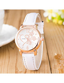 Elegant White Flower Shape Pattern Decorated Pure Color Strap Design Pu Ladies Watches