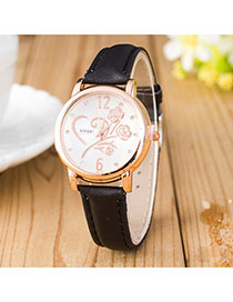 Elegant Black Flower Shape Pattern Decorated Pure Color Strap Design Pu Ladies Watches