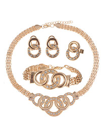Delicate Champagne Five Circle Matching Decorated Jewelry Sets