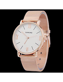 Personality Gold Color Roman Dial Pattern Decorated Metal Stap Design Man Watch Alloy Men's Watches