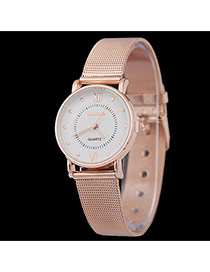 Personality Gold Color Roman Dial&letter Pattern Decorated Metal Stap Design Women Watch Alloy Ladies Watches