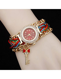 Delicate Red Key Pendant Decorated Watch