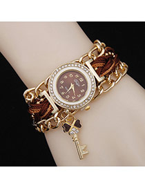 Delicate Brown Key Pendant Decorated Watch