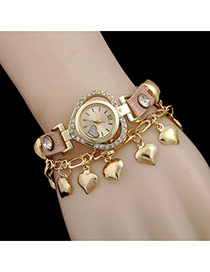 Lovely Pink Heart Pendant Decorated Rivet Watch