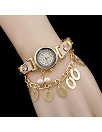 Sweet White Round Shape&pearl Decorated Rivet Watch