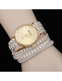 Personality White Diamond Decorated Double Layer Rivet Watch
