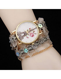 Lovely Gray Flower Decorated Simple Watch
