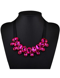 Fashion Plum Red Oval Diamond Decorated Simple Nacklace