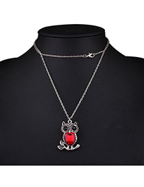 Fashion Red Owl Pendant Decorated Simple Nacklace