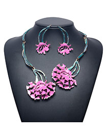 Exaggerate Pink Flower Pendant Decorated Jewelry Sets