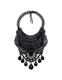 Exaggerate Black Water Drop Gemstone Pendant Decorated Collar Necklacee