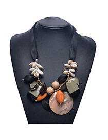 Exaggerate Gray Shellshape Weaving Decorated Short Chain Necklace