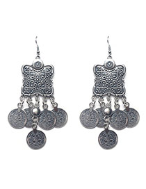 Exaggerate Silver Color Metal Coin Shape Pendant Decorated Earrings