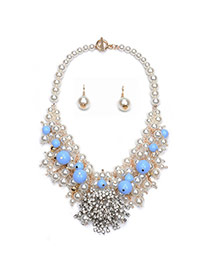 Elegant Blue Diamond Decorated Pearl Weaving Jewelry Sets