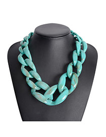 Exaggerate Blue Color Matching Decorated Hollow Out Collarbone Necklace