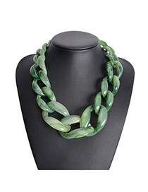 Exaggerate Green Color Matching Decorated Hollow Out Collarbone Necklace
