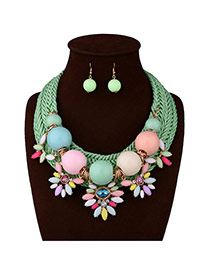 Exaggerate Multi-color Big Beads&flower Shape Decorated Hand-woven Jewerly Sets