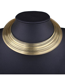 Exaggerated Gold Color Pure Color Decorated Multilayer Collar Necklace