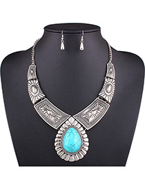 Exaggerated Silver Color Waterdrop Gemstone Decorated Geometric Shape Jewelry Sets