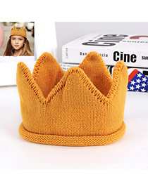 Lovely Orange Crown Shape Decorated Simple Knitting Hat