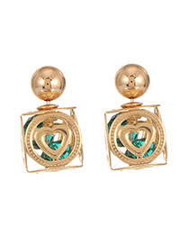 Elegant Dark Green Hollow Out Heart Shape Decorated Geometric Earring
