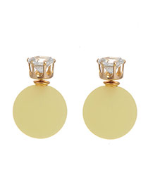 Sweet Yellow Diamond Decorated Pure Color Ball Shape Earring