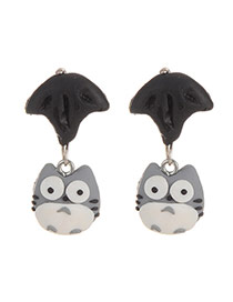 Cute Black+gray Cat Pendant Decorated Umbrella Shape Earring