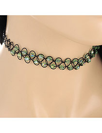 Fashion Green Double Layer Diamond Weaving Decorated Simple Necklace