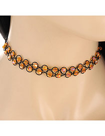 Fashion Orange Double Layer Diamond Weaving Decorated Simple Necklace