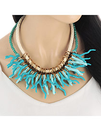 Personality Green Antler Shape Decorated Double Layer Necklace