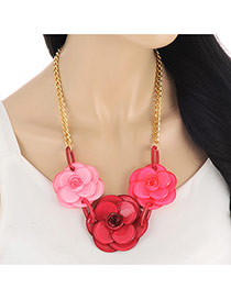 Elegant Plum Red Three Flowers Decorated Simple Necklace