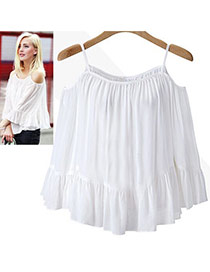 Sweet White Pure Color Decorated Off-the-shoulder Strap Falbala Skirt