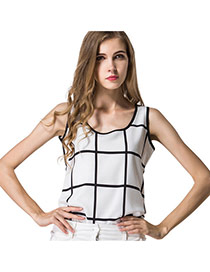 Trendy White+black Colr Matching Grid Decorated Sleeveless Tank Tops
