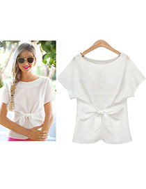 Sweet White Pure Color Bowknot Shape Decorated Short Sleeve T-shirt