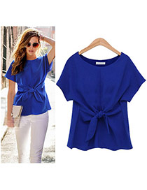 Sweet Blue Pure Color Bowknot Shape Decorated Short Sleeve T-shirt