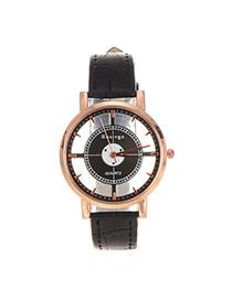 Fashion Black Color Matching Design Pure Color Strap Watch