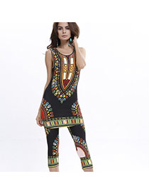 Fashion Black Geometric Shape Pattern Decorated Sleeveless Simple Suits
