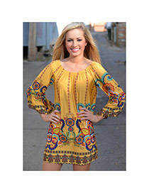 Sexy Yellow Geometric Shape Pattern Decorated Off Shoulder Three Quarter Sleeve Dress