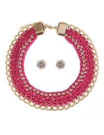 Elegant Plum Red Diamond Hand-wovan Decorated Collar Jewelry Sets