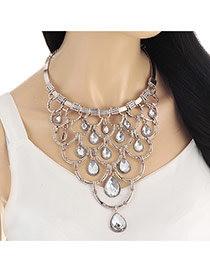 Exaggerate Silver Color Waterdrop Diamond Decorated Hollow Out Necklace