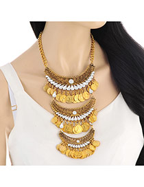 Exaggerate Gold Color Metal Coin&waterdrop Shape Gemstone Decorated Multilayer Necklace