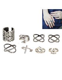 Personality Silver Color Arrows  Decorated Geometric Shape Simple Rings (8pcs)