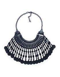 Exaggerated Black Coins Shape Tassel Pendant Short Chain Necklace