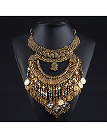 Exaggerated Antique Gold Multilayer Tassel Pendant Decorated Geometric Shape Necklace
